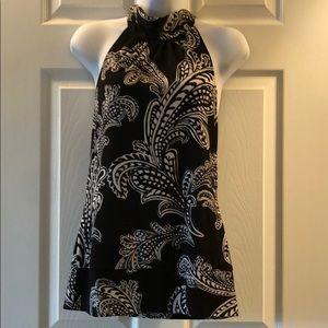 White House Black Market black & white halter top